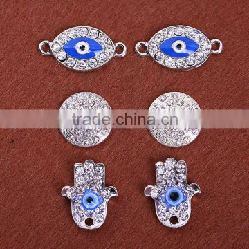 Classic simple fine evil eye pave diamond turkey jewellery accessory hamsa hand crystal ethnic tribal bracelet DIY accessories