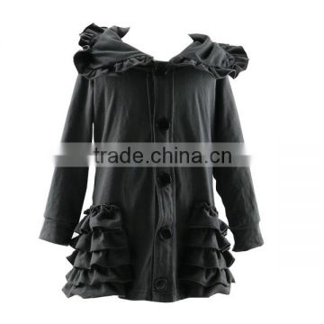 Wholesale hoodie boutique spring ruffle and button dark grey children's fashion cotton coat