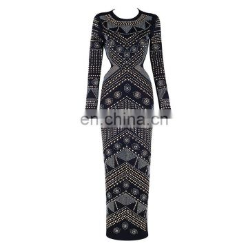 Latest Celebrity Design Women Elegant Long Sleeve Backless Evening Sequins Beaded Maxi Party Dresses