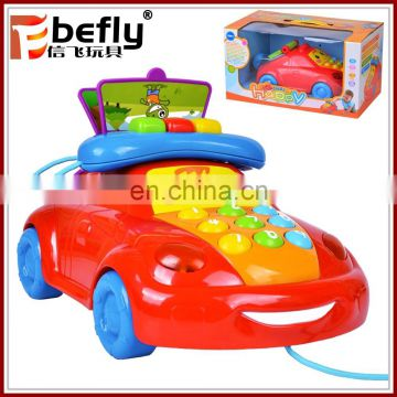 Lovely car shape telephone plastic baby climbing toys for sale