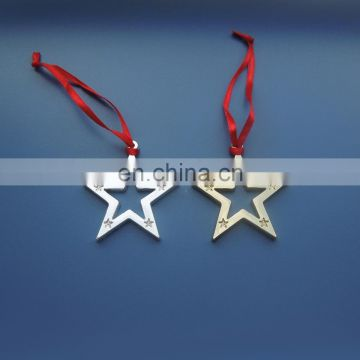 plating glossy gold/silver hollow cut out star shape metal dangler charm pendant decoration for Christmas tree