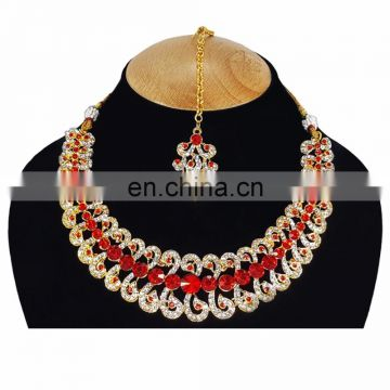 Designer Gold Plated Indian Handmade Party wear Kundan Zerconic Necklace set Red Color