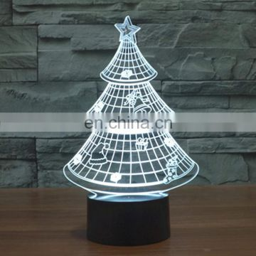 Christmas Tree Style 7 Colour Discoloration Lamp 3D Touch Switch Control LED Light