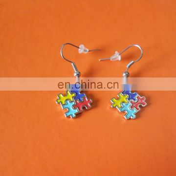 puzzle shape Autism awareness metal earring for charity