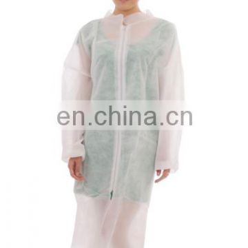 Cheap white disposable PP lab coat with collar zipper