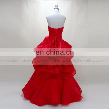 Ruffle red muslim evening dress women