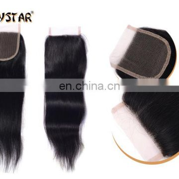 100% human hair straight lace closure free part lace closure 4*4 lace closure