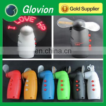 NEW arrival led mini fan flashing light fan programmable led message handheld fan