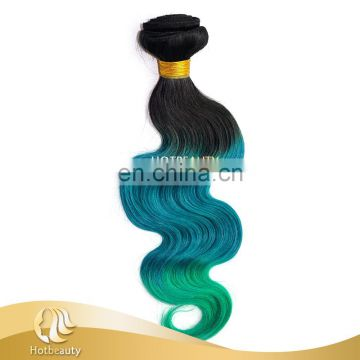 Fashion 3 Tone 1b#/Green/Blue Colored Brazilian Hair Weave