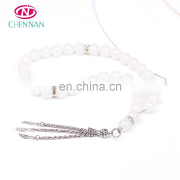 10mm islamic tasbeeh bracelet tasbeeh white crystal glass beads 33 round fever tesbih features