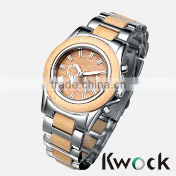 Kwock Alloy wood watch with Japan movement watch wood for Man