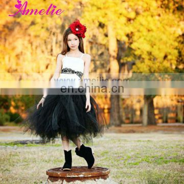 A3G003 Net skirt black and white flower girl dresses