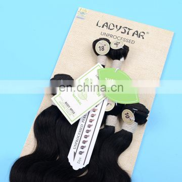 Ladystar full head 6 pieces / pack 100% peruvain unprocessed virgin human hair weft