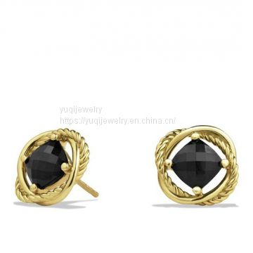925 Silver Jewelry 7mm Infinity Earrings With Black Onxy in Gold(E-118)