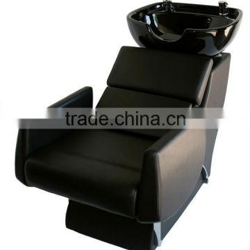 black salon shampoo washing chairs