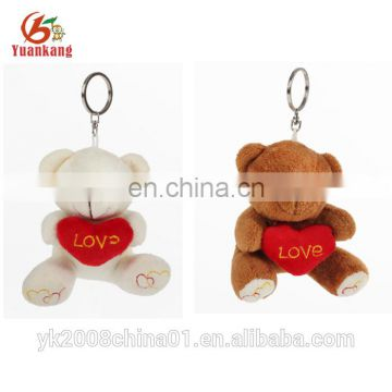 12cm promotional love small plush teddy bear keychain toys for wedding gift