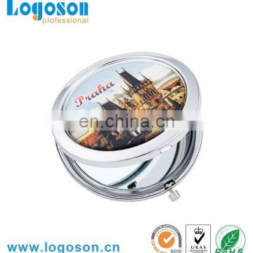 Handmade protable size round push button compact metal mirror