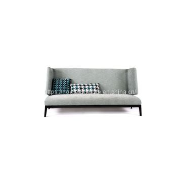 Minimalist Armless Linen Fabric Studio Couch with High Back