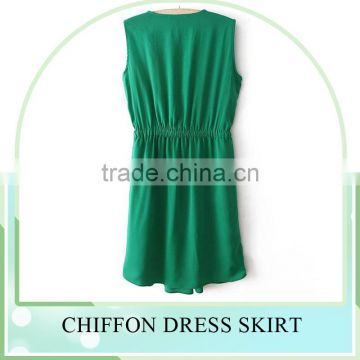 OEM pleated designs photos women Casual slim sleeveless Chiffon dress, summer women clothing dress, girls Chiffon dress
