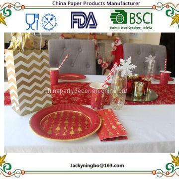 Dazzling Christmas Red and Gold Foil Trees Paper tablewares Gold Dot Party Supplies Elegant Metallic Foil Tablewares