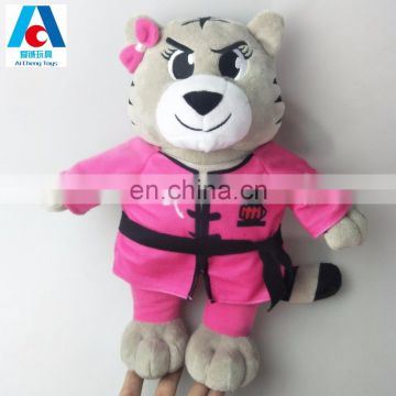 Cute kungfu tiger plush toys plush animal toy with kungfu clothes