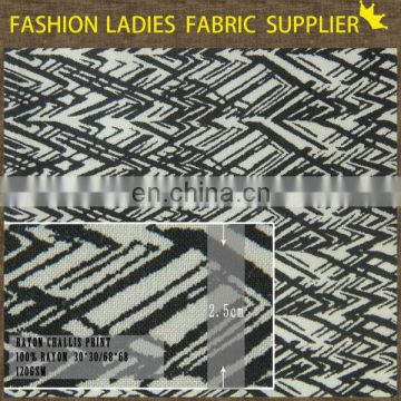 good quality reasonable price geometric patterns rayon challis 100% rayon fabric for suit