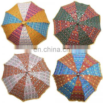 Big Garden Umbrellas Patios New Embroidery Mirror Garden decor Parasol Vintage Garden Umbrellas cotton Handmade work Ethnic art