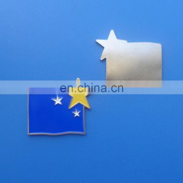 Soft enameled blue color flag with cut out yellow star design metal magnetic lapel pin