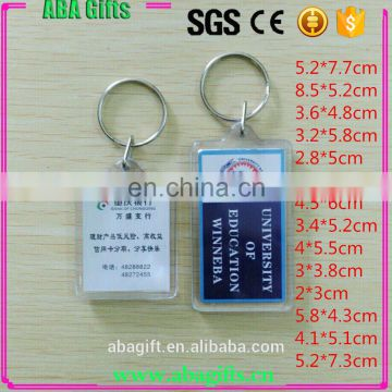 High Quality rectangle plastic keychain photo holder