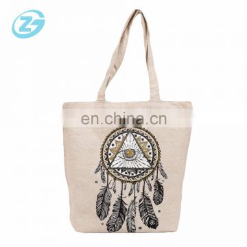 Zhejing Factory Fashion Full Color Printed Cotton Canvas Bag With Zipper Pocket