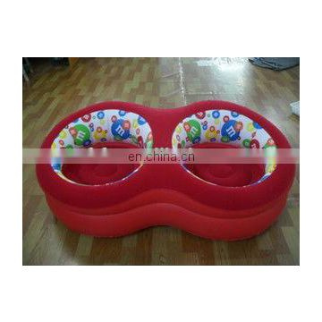 inflatable double flocked round sofa