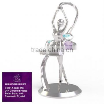 Chromed Plated Dancing Ballet Figurines with Swarovski Crystals