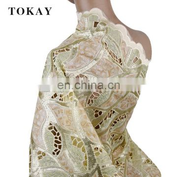 New fashion african handcut double organza lace fabric for wedding
