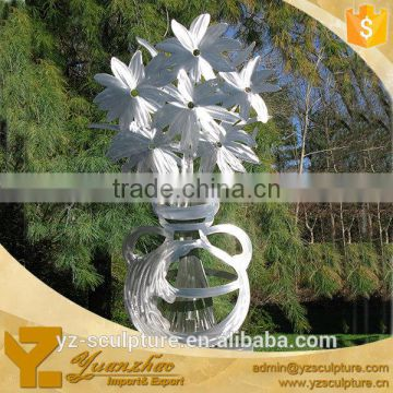 city landscape outdoor stainless steel flower sculpture