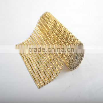 Factory Direct Sale One Yard MOQ Colorful Plastic Rhinstone Trimming Mesh For Decoration