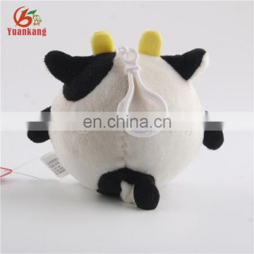 New Design Cute Small Baby Soft Toys Round Cattle Key Pendant Cow Plush Keychain