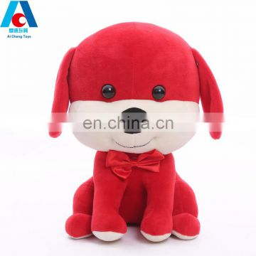 custom red plush dog toy for new year gifts