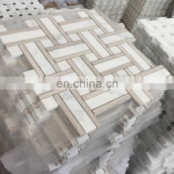 Light wood marble mix white marble mosaic