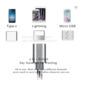 3 in 1 Multi Nylon Braided Fast Charging Cable Type C 8 Pin Micro USB Cable For iPhone and Android