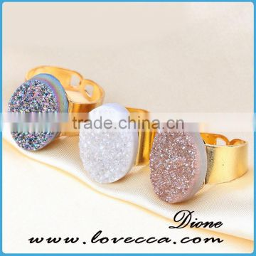 Fashion Custom Gold Plated Open Adjustable Resin Druzy /Drusy Rings