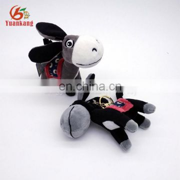 Custom mini plush donkey animal keychain