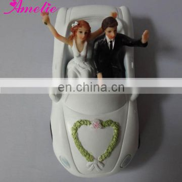 A07407 With Just Married Car Resin Cake Toppers For Wedding