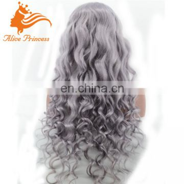26 Inch Body Wave Silver Grey Human Hair Lace Wigs Silver Wig