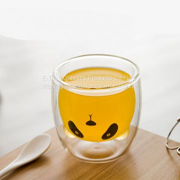 2018 Hot Sale Cartoon Popularity Bear Shape Double Wall Glass Cup Ins Popularity Cup For Coffee Milk Juice Mug