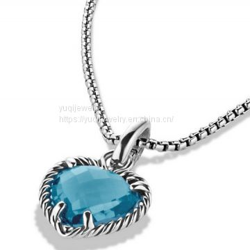 925 Silver Jewelry Cable Heart Pendant with Hampton Blue Topaz(P-086)