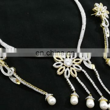 Single Line Chain White -Color beaded Gold Plated American Diamond Jewelry Necklace Earrings Set