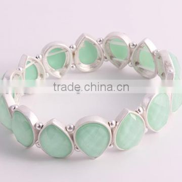 G69651202 STYLE PLUS lucky bracelet blue resin stone beads bracelet trend bangle