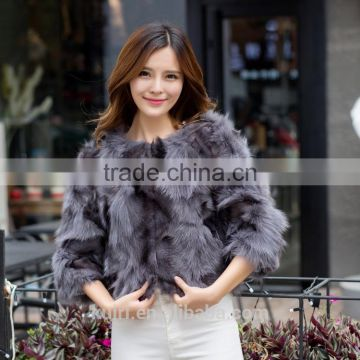Factory supply Leather women winter fur fox fur foot encryption sleeve short coat Large size