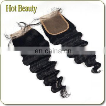 Hot Beauty Natural Loose Wave Free Part Virgin Brazillian Hair Lace Closure Piece