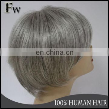 Beautiful human hair wig top quality indian remy gray hair full lace wig